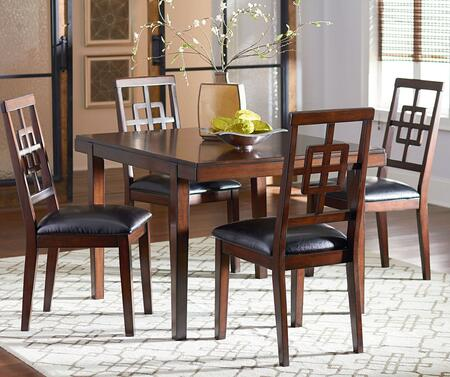 13262 Ally Dining Room Set with 1 Table and 4 Chairs in Golden Brown Cherry Stain