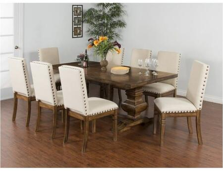 Cornerstone Collection 1396BMDT8C 9-Piece Dining Room Set with Extension Dining Table and 8 Chairs in Burnish Mocha