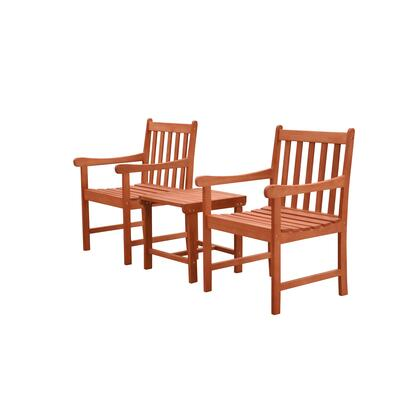 Malibu Collection V1802SET7 3-Piece Outdoor Patio Dining Set with Two Armchairs and Side Table in Natural Wood