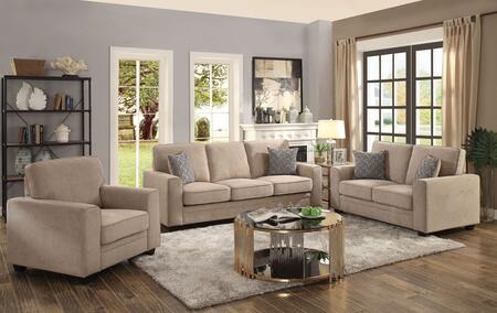 Catherine Collection 522955S 5 PC Living Room Set with Sofa  Loveseat  Chair  Coffee Table and End Table in Khaki