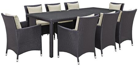 Convene Collection Eei-2217-exp-bei-set 9 Pc Outdoor Patio Dining Set With 8 Armchairs  Rectangular Glass Top Table  Synthetic Rattan Weave Construction And