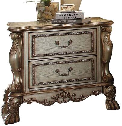 23163 Dresden Nightstand with 2 Drawers  Solid Chinese Wood Construction  Antique Brass Hardware  Ball and Claw Feet in Gold Patina