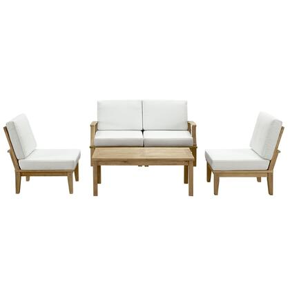 Marina Collection EEI-1477-NAT-WHI-SET 5-Piece Outdoor Patio Teak Sofa Set with Left-Arm Sofa  Coffee Table  Right-Arm Sofa and 2 Middle Sofa in Natural and