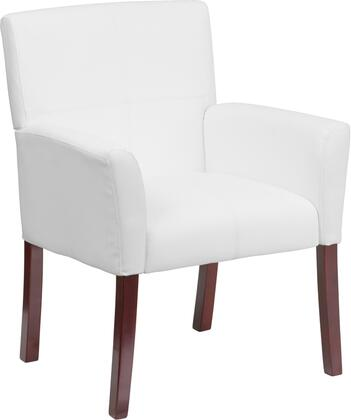 BT-353-WH-GG White Leather Executive Side Chair or Reception Chair with Mahogany