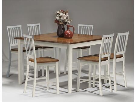 Arlington AR-TA-5454G-WHJ-6S  Dining Room Gathering Table with 6 Stools  Distressed Detailing  and Tapered Legs in