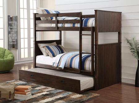 Hector Collection 38025TRN Twin Over Twin Size Bunk Bed with Trundle  Easy Access Guard-Rail  Right Facing Ladder  New Zealand Pine Wood and Ash Veneer