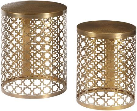 DS-D051025 14 inch  Set of 2 Round Perforated Accent Tables with Iron Construction  Perforated Quatrefoil Design and Dimpled Top in Metal Brass