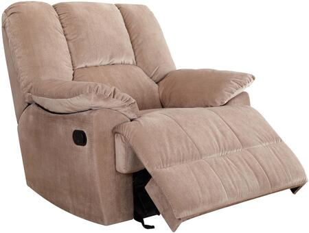 Oliver Collection 59094 41 inch  Glider Recliner with Pillow Top Arms  Loose Arm Rest  Hemlock Fir Wood Frame and Corduroy Fabric Upholstery in Mushroom