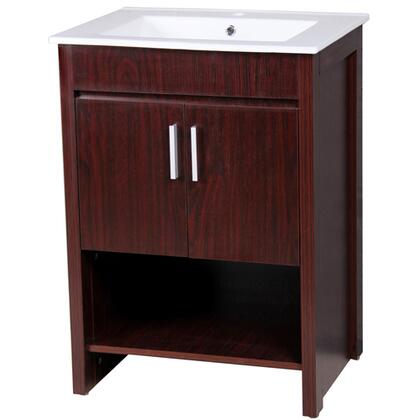 YVEHS-02-VT 23.5 inch  Single Vanity with White Ceramic Sink  Single Faucet Hole  2 Door Cabinet and an Open Shelf in Brown Cabinet
