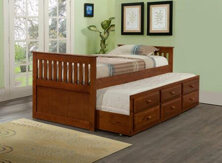 103-TE Twin Mission Captains Bed with Pull Out Trundle  Simple Pulls and 3 Drawers in