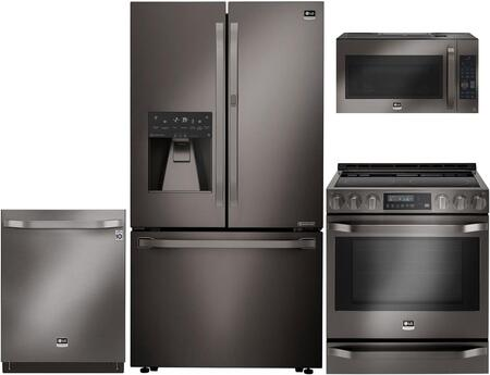 Studio Series 4-Piece Kitchen Package With LSFXC2476D 36 inch  Counter Depth French Door Refrigerator  LSSE3029BD 30 inch  Slide-in Electric Range  LSMC3089BD 30 inch  Over