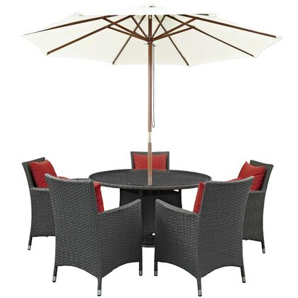 Sojourn Collection EEI-2246-CHC-RED-SET 7 PC Outdoor Patio Sunbrella Dining Set with 5 Armchairs  Dining Table and Patio Umbrella in Canvas Red