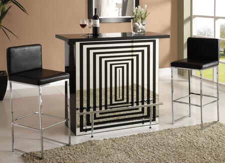 Zak Collection 70960T2C 3 PC Bar Table Set with Bar Table and 2 Upholstered Bar Chairs in Chrome and Black