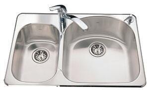 KSDC2031L/9/2 32 inch  Left Hand Combination Double Bowl Drop-In Kitchen Sink  18 Gauge Stainless Steel  2 Faucet