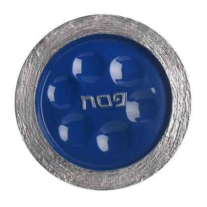 PT-530 Handmade 13 inch  x 13 inch  Round Passover Plate with Brushed Aluminum Frame and Blue Enamel
