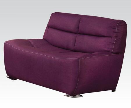 Kainda Collection 51716 61 inch  Loveseat with Chrome Legs  Wood Frame  Tight Back and Seat Cushions and Linen Upholstery in Purple