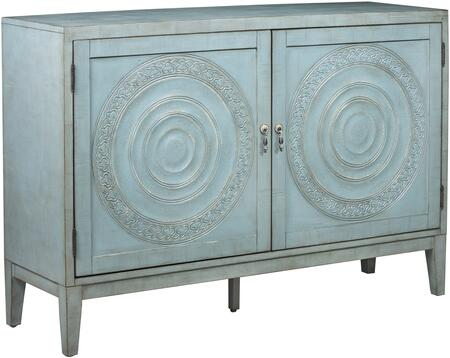 Briane P020242 Antique Embossed Door Console with Two Doors  Two Adjustable Wood Shelf and Intricate Door Embossing in