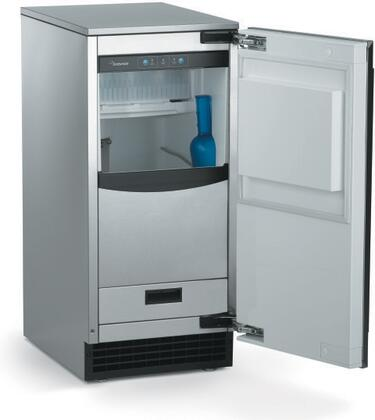 "SCCP50MA1SU Brilliance Gourmet Cuber 15"" Undercounter Ice Machine with Bin Light and Self-Closing Door  Up to 65 lbs of Ice  Pump Drain"
