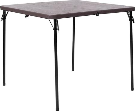 DAD-LF-86-GG 34'' Square Bi-Fold Brown Wood Grain Plastic Folding Table with Carrying