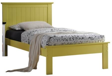 Prentiss Collection 25425T Twin Size Bed with Slat System Included  Beadboard Panel Headboard  Low Profile Footboard and Poplar Wood Construction in Yellow