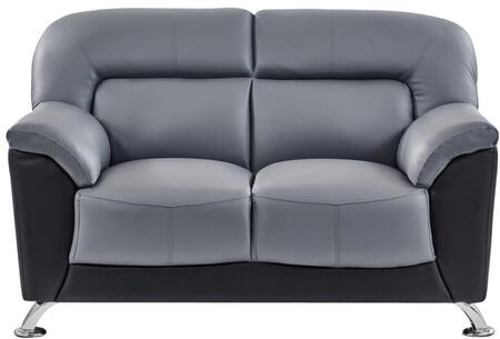 U9102DGRBLLOVESEAT 55 inch  Loveseat with Plush Padded Arms  Stainless Steel Legs and Stitched Detailing in Grey and Black