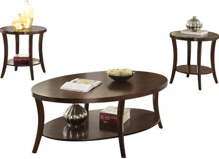 Iara Collection 82260 3 PC Pack Coffee and End Table Set with Poplar Wood Tapered Legs  Bottom Shelf  Contemporary Style  Birch Wood Veneer Material and