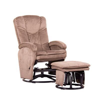 D80996LF07 Beige Reclining Glider  with Swivel and Locking Mechanism Complete with Free Ottoman -