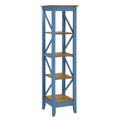 """Jay 2.0 Collection CS34001 19"""" Solid Wood Bookcase with 4 Open Shelves and Lifted Base in Blue"""