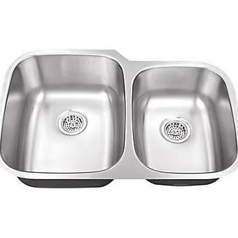 SC604018 All-in-One Undermount Stainless Steel 30x19x9 0-Hole Double Bowl Kitchen