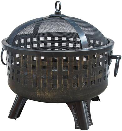 "26360 Garden Lights Savannah Fire Pit with 12.5"" Deep Fire Bowl  Decorative Legs  Ring Handles  Spark Screen and Steel Construction in Antique Bronze"