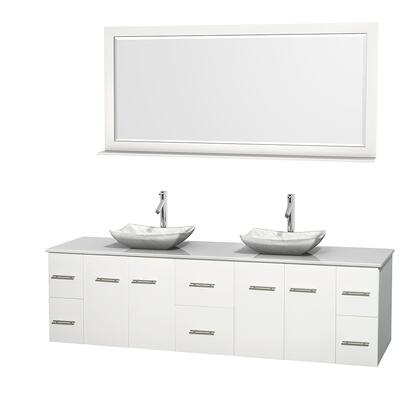 WCVW00980DWHWSGS3M70 80 in. Double Bathroom Vanity in White  White Man-Made Stone Countertop  Avalon White Carrera Marble Sinks  and 70 in.