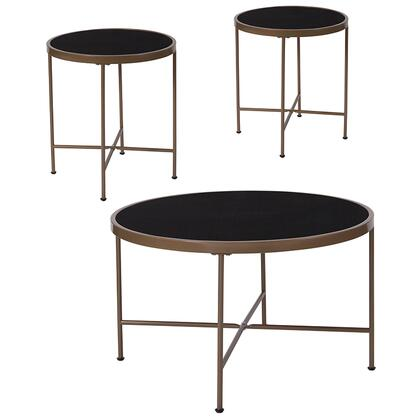 Chelsea Collection NAN-CEK-5-GG 3 Piece Coffee And End Table Set With Black Glass Tops And Matte Gold