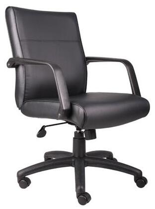 B687 Boss Executive Office Chair Upholstered In Black With Arms  Casters & Adjustable Seat