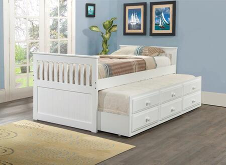 103TW Mission Captains Trundle Bed with Simple Pulls  3 Drawers and Pull Out Trundle in