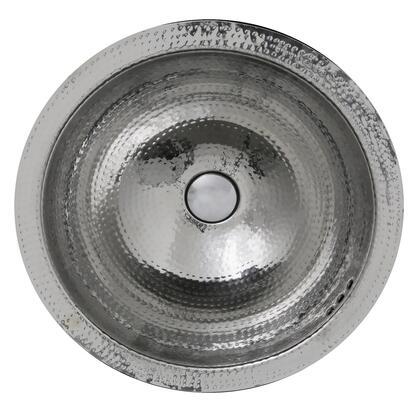 Brightwork Home Collection RLS-OF 17 inch  Hand Hammered Stainless Steel Round Undermount Bathroom Sink With