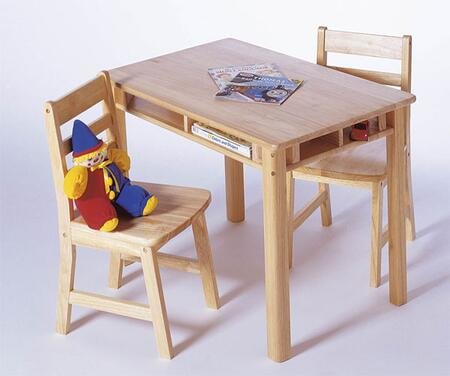 534 Lipper's Rectangular Table with Shelves and 2 Chairs in Natural