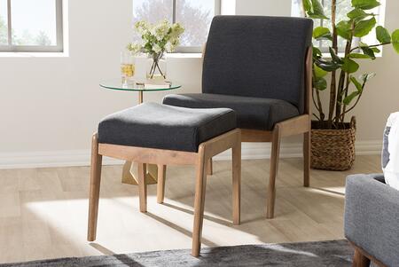 Baxton Studio Wera BBT5270-DARK GREY-CC-OTTO SET 2-Piece Set with Slipper Lounge Chair and Ottoman in Dark