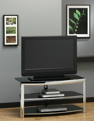 I 2038 TV Stand - Chrome Metal / Black Tempered 501891