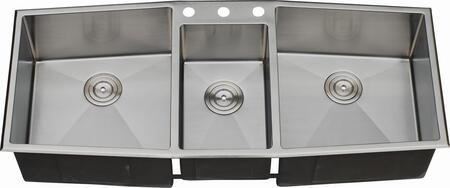 LIX-800 Diamante 33 1/2 inch  Triple Bowl Undermount/Drop-in Kitchen Sink with Soundproofing System and Mounting Hardware in Stainless