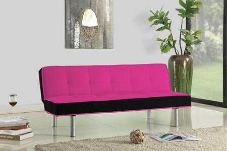 Hailey Collection 57137 66 inch  Adjustable Sofa with Chrome Metal Legs  Converts to Bed  Wooden Frame Construction and Flannel Fabric Upholstery in Magenta and
