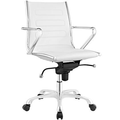Ascend Collection EEI-2214-WHI Office Chair with Swivel Seat  Adjustable Height  Tension Control Knob  Chrome Plated Steel Frame  Polished Aluminum Base and