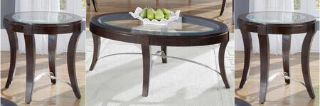 Avalon Collection 505-OT-3PCS 3-Piece Living Room Table Set with Oval Cocktail Table and 2 Oval End Tables in Dark Truffle