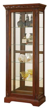 Addy Collection 90062 29 inch  Curio Cabinet with 4 Glass Shelves  3mm Back Mirror  Tempered Glass  Metal Hardware  Cabinet Light and Wood Construction in Cherry