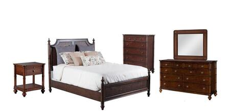 Passages Collection 14bo7024pw5pckpsmddlm1dn6dckit1 5-piece Bedroom Sets With King Poster Bed  Dresser  Mirror  Nightstand And Chest In Akzo