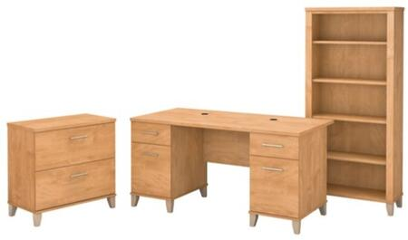 Somerset WC81428K-65-80 3-Piece Desk Set with 5 Shelf Bookcase and Lateral File Cabinet in Maple Cross