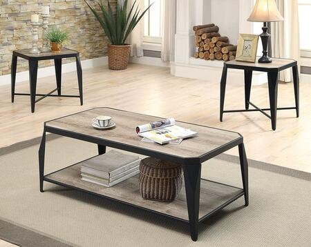 Oldlake Collection 81920 3 PC Living Room Table Set with Bottom Shelf  Tapered Legs  Metal Frame  Paper Veneers and Medium-Density Fiberboard (MDF) in Antique