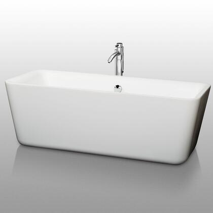 WCOBT100169 69 in. Center Drain Soaking Tub in White with Chrome