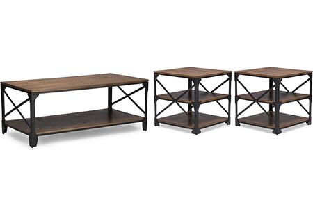YLX-2694 3PC TABLE SET Baxton Studio Greyson Vintage Industrial Antique Bronze Coffee Cocktail Table and End Tables 3-Piece Occasional Table