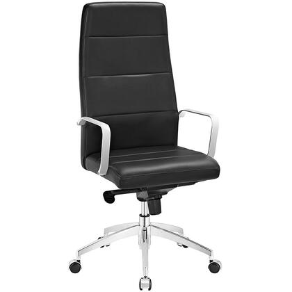 Stride Collection EEI-2120-BLK Office Chair with Adjustable Height  Swivel Seat  Polished Aluminum Base  Five Dual-Wheel Nylon Casters  Chrome Steel Frame and