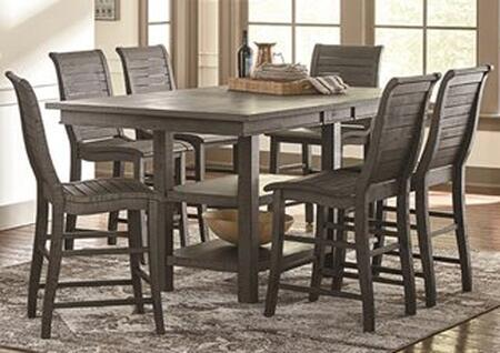 Willow Collection D801-RECTCT6SC 7-Piece Dining Room Sets with Rectangular Counter Height Table  and 6 Counter Height Side Chairs in Distressed Dark